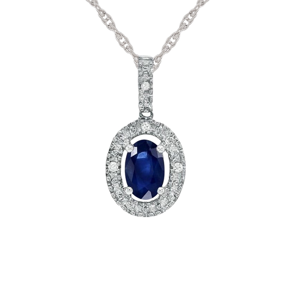10K White Gold Oval Blue Sapphire and Diamond Accent Framed Pendant