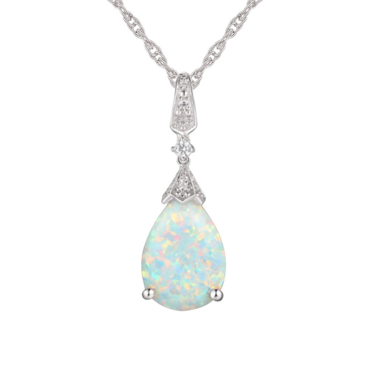 Sterling Silver Lab-Created Opal & Lab-Created White Sapphire Pendant