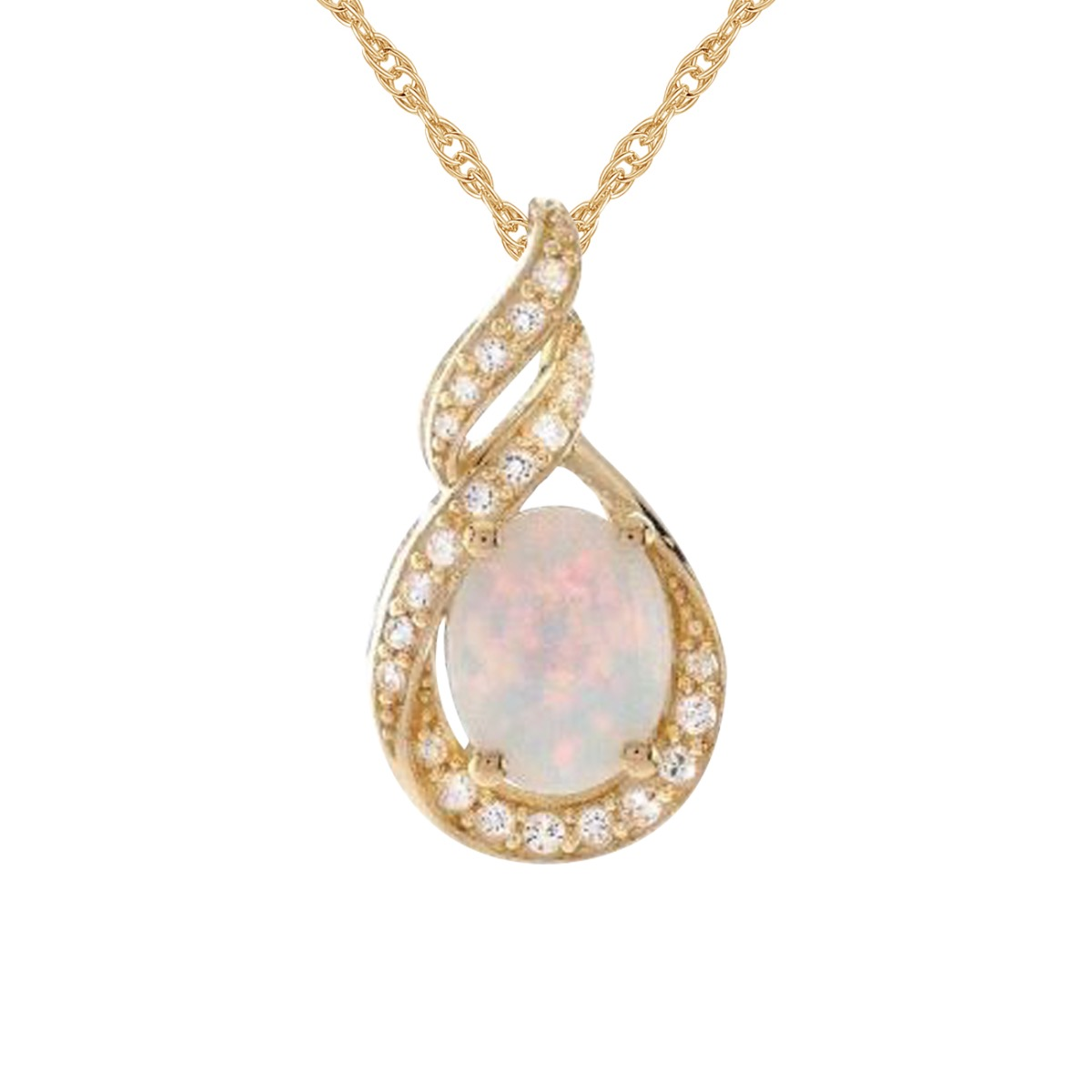 14K Gold over Silver Lab Created Opal &  White Sapphire Pendant