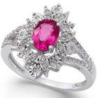 14K White Gold Ruby and 1/5 CT. T.W. Diamond Split Shank Ring