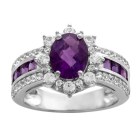 Sterling Silver Amethyst and Lab-Created White Sapphire Ring