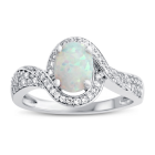 Sterling Silver Lab-Created Opal and Lab-Created White Sapphire Ring