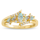 14K Gold over Sterling Silver Lab-Created Opal and Lab-Created Sapphire Ring