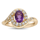 14K Yellow Gold Over Silver Amethyst and Lab-Created White Sapphire Ring