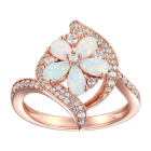 14K Rose Gold over Sterling Silver Lab Created Opal and Lab-Created White Sapphire Flower Ring