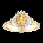 10K Yellow Gold Citrine and 1/4 CT. T.W. Diamond Ring