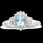 10K White Gold Aquamarine and 1/4 CT. T.W. Diamond Ring