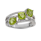 Sterling Silver Peridot and Lab-Created White Sapphire 3-Stone Ring