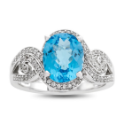 Sterling Silver Blue Topaz and Lab-Created White Sapphire Ring