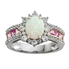 Sterling Silver Lab-Created Opal and Lab-Created Pink & White Sapphire  Ring