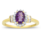 10K Yellow Gold Amethyst and 1/4 C.T. T.W. Diamond  Ring
