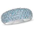 Sterling Silver Blue Topaz Pavé Band Ring