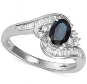 14K White Gold Sapphire and 3/8 CT. T.W. Diamond Ring