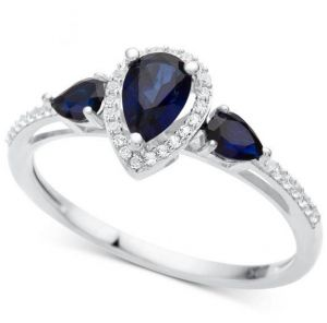 10K White Gold Sapphire and 1/10 CT. T.W. Diamond Ring