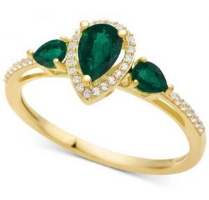 10K Yellow Gold Emerald & 1/10 CT. T.W. Diamond Ring