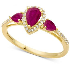 10K Yellow Gold Ruby & 1/10 CT. T.W. Diamond 3-Stone Ring