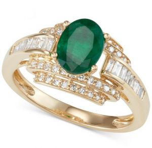 14K Yellow Gold Emerald and 1/2 CT. T.W. Diamond Ring