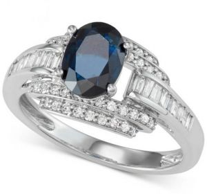 14K White Gold Sapphire and 1/2 CT. T.W. Diamond Ring