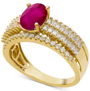 14K Yellow Gold Oval Ruby and 1/2 CT. T.W. Diamond Ring