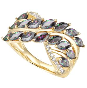 14K Yellow Gold over Sterling Silver Marquise Mystic Topaz and 1/10 CT. T.W. Diamond Ring