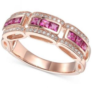 14K Rose Gold Ruby and 1/5 CT. T.W. Diamond Ring