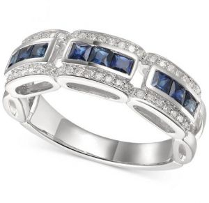 14K White Gold Sapphire and 1/5 CT. T.W. Diamond Ring