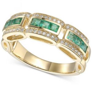 14K Yellow Gold Emerald & 1/5 CT. T.W. Diamond Ring