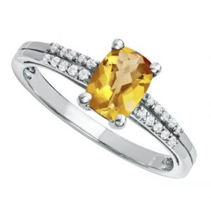 Sterling Silver Cushion Cut Citrine and White Topaz Ring