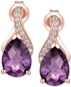 14K Rose Gold Amethyst and Diamond Accent Earrings