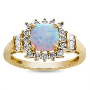 10K Yellow Gold Lab-Created Opal and 1/8 CT. T.W. Diamond Ring
