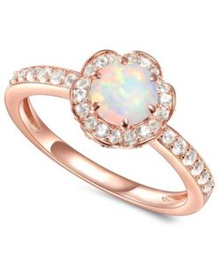 14K Rose Gold over Sterling Silver Lab-Created Opal and Lab-Created White Sapphire Flower Ring