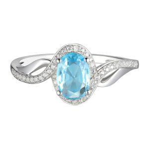 10K White Gold Aquamarine and Lab-Created White Sapphire Ring