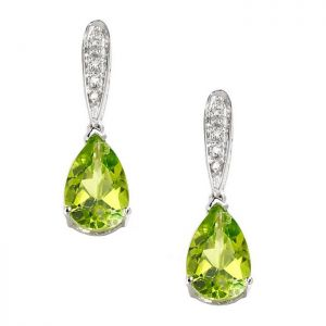 10K White Gold Peridot and Diamond Accent Drop Earrings