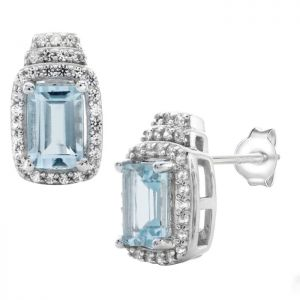 Sterling Silver Aquamarine and Lab-Created White Sapphire Earrings