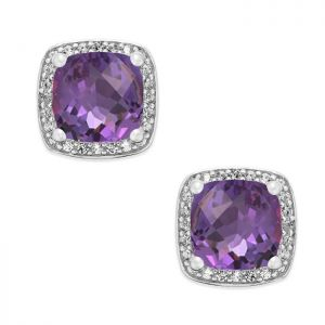 Sterling Silver Cushion Cut Amethyst and 1/8 CT. T.W. Halo Stud Earrings