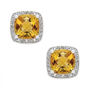 Sterling Silver Cushion Cut Citrine and 1/8 CT. T.W. Diamond Halo Stud Earrings