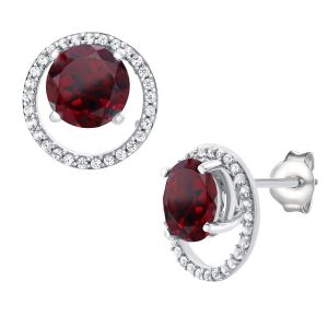 Sterling Silver Garnet and 1/6 CT. T.W. Diamond Round Halo Stud Earrings