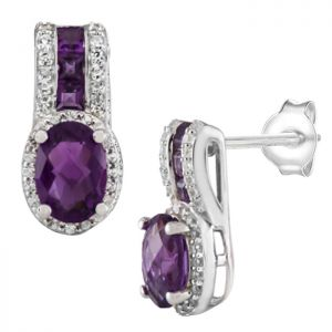 Sterling Silver Amethyst & Lab-Created White Sapphire Earrings