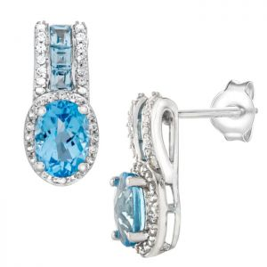 Sterling Silver Blue Topaz and Lab-Created White Sapphire Drop Earrings