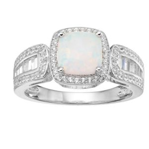 Sterling Silver Lab-Created Opal and Lab-Created White Sapphire Halo Ring