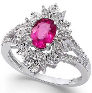 14K White Gold Ruby and 1/5 CT. T.W. Diamond Split Shank Ring