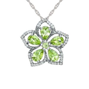Sterling Silver Peridot and White Topaz Flower Pendant