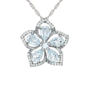 Sterling Silver Aquamarine and White Topaz Flower Pendant