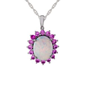 Sterling Silver Lab-Created Opal & Lab-Created Pink Sapphire Pendant