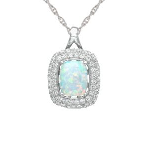 Sterling Silver Lab-Created Opal and Lab-Created White Sapphire Pendant