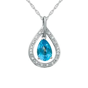 Sterling Silver Blue Topaz and Lab-Created White Sapphire Pendant