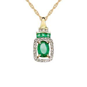 14K Yellow Gold Emerald and 1/6 CT. T.W. Diamond Rectangle Pendant