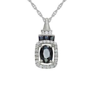 14K White Gold Sapphire and 1/6 CT. T.W. Diamond Rectangle Pendant