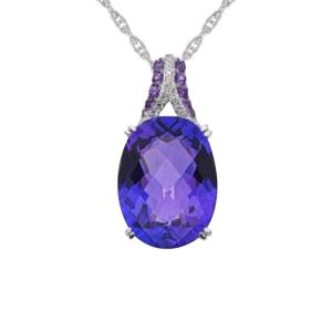 Sterling Silver Amethyst and Lab-Created White Sapphire Oval Pendant