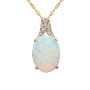 14K Yellow Gold over Sterling Silver Lab-Created Opal and Lab-Created White Sapphire Pendant